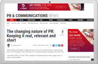 THE CHANGING NATURE OF PR: KEEPING IT REAL, RELEVANT AND SHORT