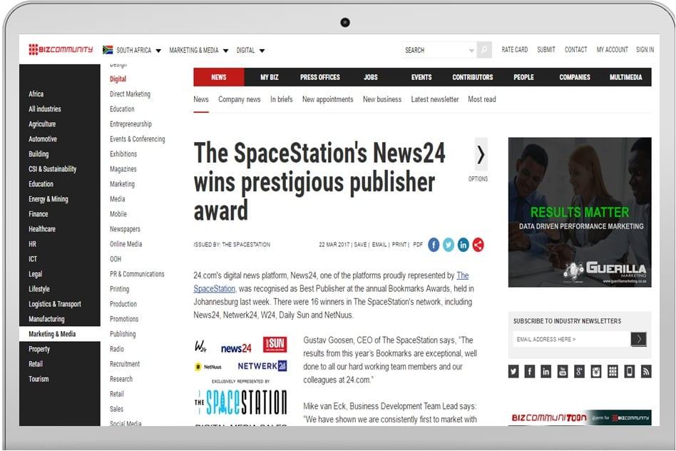 the spacestation s news24 wins prestigious publisher award mango omc