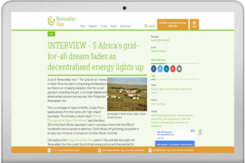 INTERVIEW - S Africa's grid-for-all dream fades as decentralised